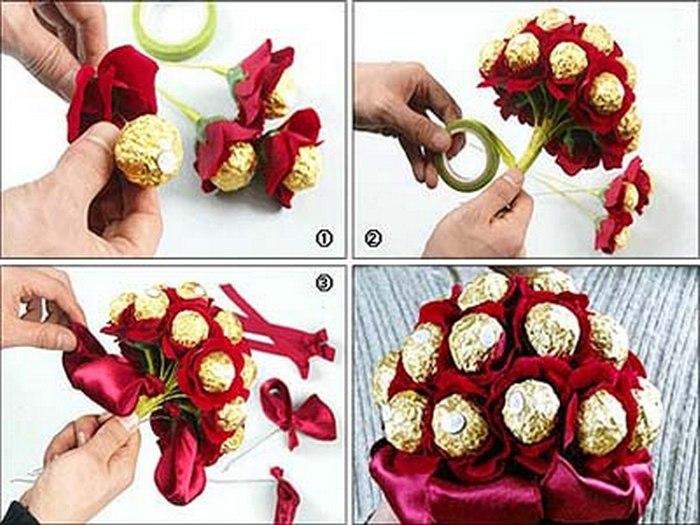 Букеты из конфет своими руками: мастер-класс: как сделать ...